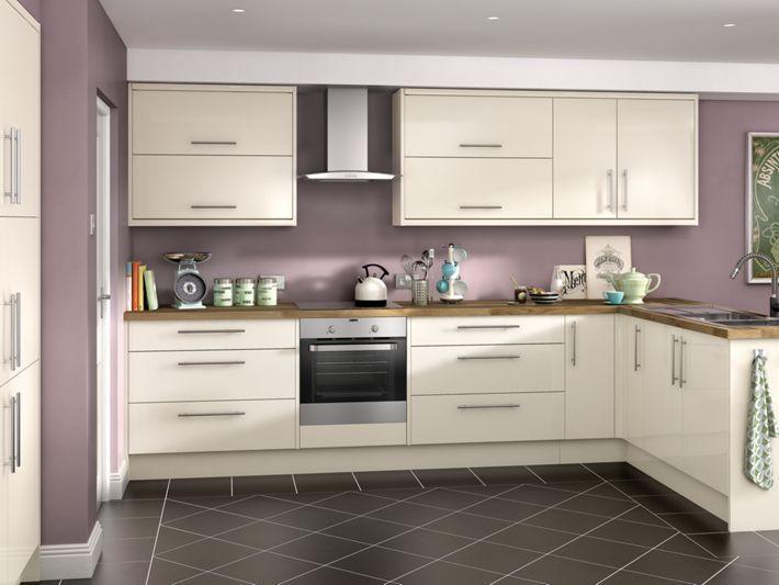 Orlando cream high gloss kitchen for Kitchen 0 finance wickes
