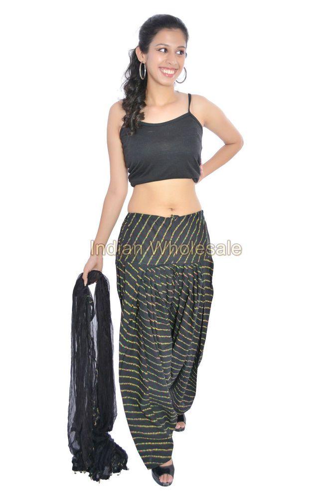 Indian Women Black Laheriya Patiala Salwar Pants with Dupatta Stole Set IWUS #Handmade #PantSets