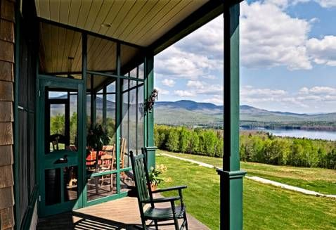 Farm porch.Incredibles Panoramic, Farms House, Whitten Architects, Screens Porches, Mountain Range, Tumbledown Mountain, Farm Houses, Front Porches, Snowman Farms