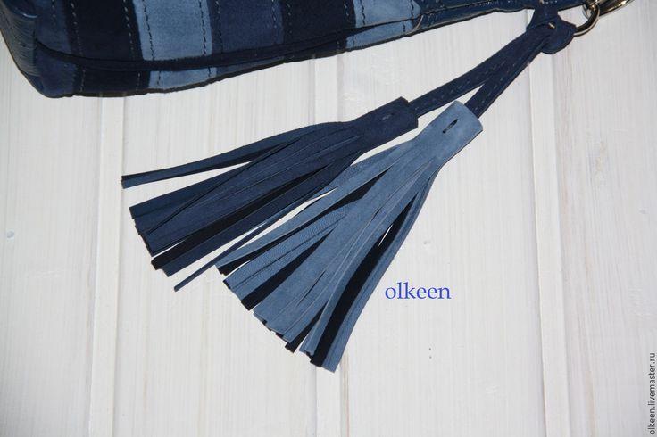 Купить Сумка кожаная Olivia синяя - синий цвет, синяя сумка, сумка ручной работы