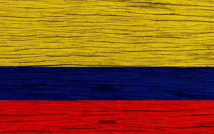 Download wallpapers Flag of Colombia, 4k, South America, wooden texture, Colombian flag, national symbols, Colombia flag, art, Colombia