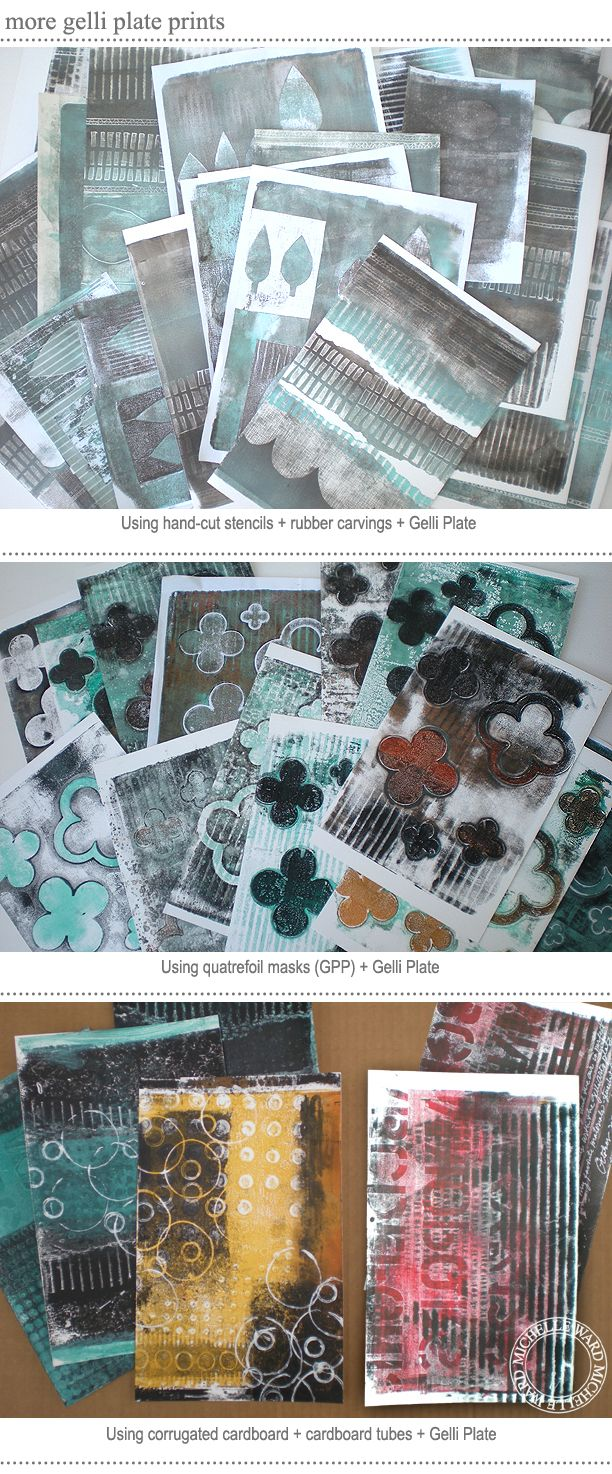 Michelle Ward - Pulling Gelli Prints! Here are some prints I worked on with some stencils last fall. In two days I had boxes of prints - lots of experiments that taught me valuable lessons, and lots of papers that will be fashioned into a journal.