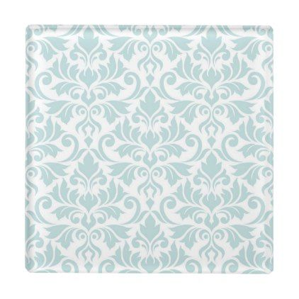 Flourish Damask Pattern Duck Egg Blue on White Glass Coaster - pattern sample design template diy cyo customize