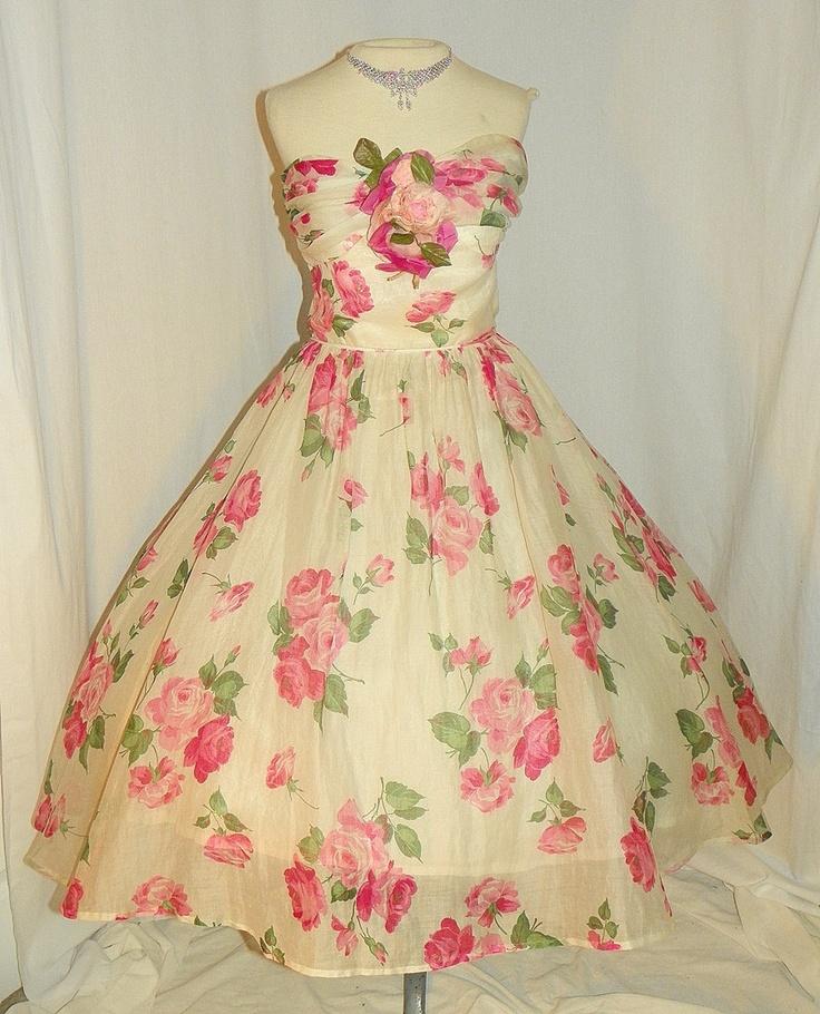 1950's Silk Organdy Pink Rose Print Velvet Strap Cocktail Dress