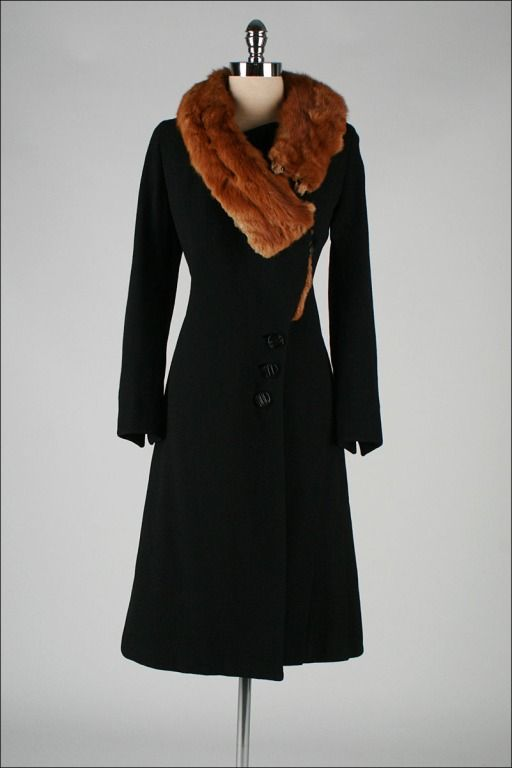 1930's Black Wool Mink Fur Wrap Collar Coat