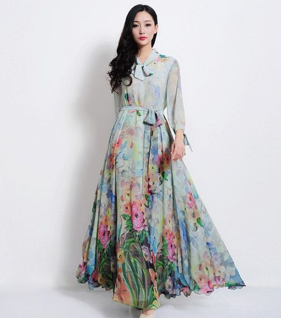Bohemian Blue Greeen Floral Print Long Sleeve A-line Dress Full Pleated Skirt Beach Wedding Dress Bridesmaid Holiday Prom Ball Gown Party on Etsy, $175.00