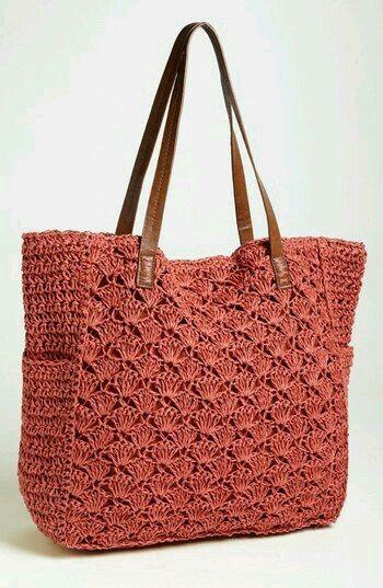 Kremit rengi tığ işi çanta