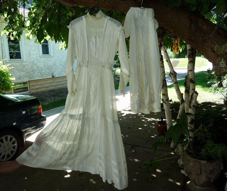 Victorian Edwardian Sheer Tea Wedding Dress + Matching Baby's Christening Gown