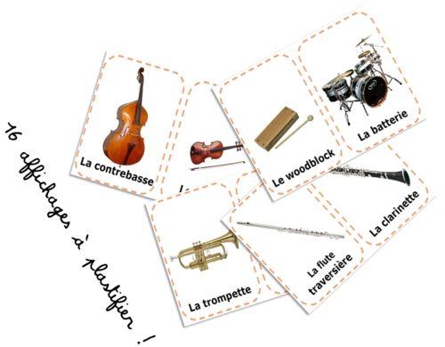Affichages pour découvrir les familles d'instruments au cycle 2 ~ Elau