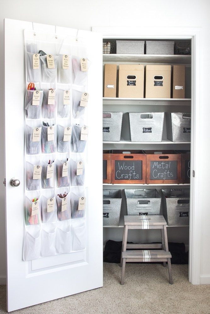 Learn how to organize a craft closet with these simple tips and tricks. Turn a closet full of junk and jumble into a sweetly organized space that will make you want to get crafting right away. Thes…