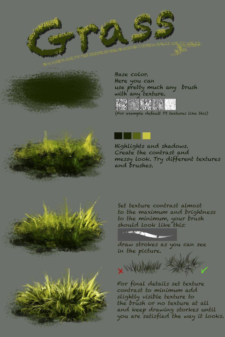 Difference between texture and plain brush nthartyfievi.deviantart.com/ar… More tutorials are coming soon. grass, trees, water, ice and other textures. Tell me what else do you want to ...