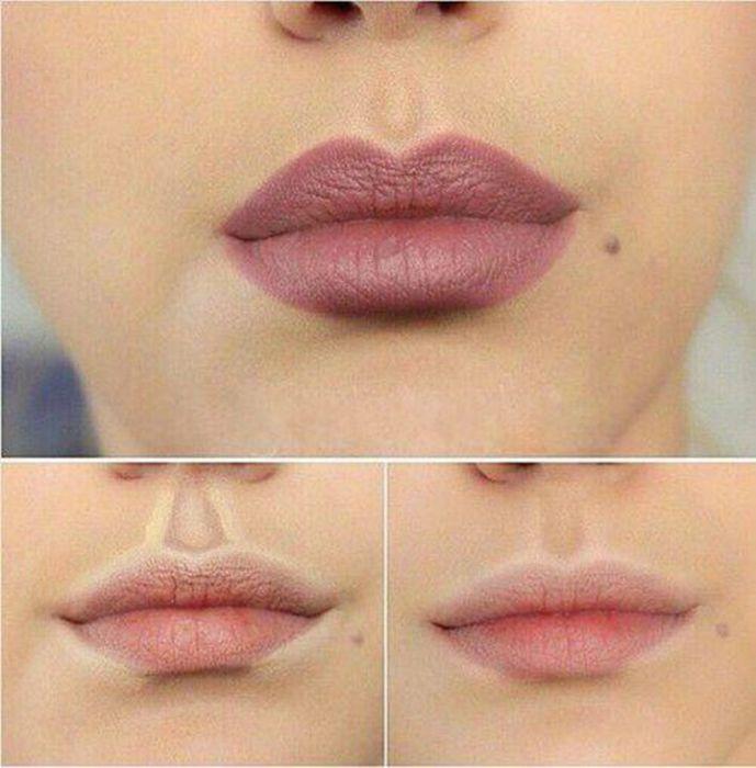 Увеличение губ с помощью контуринга.