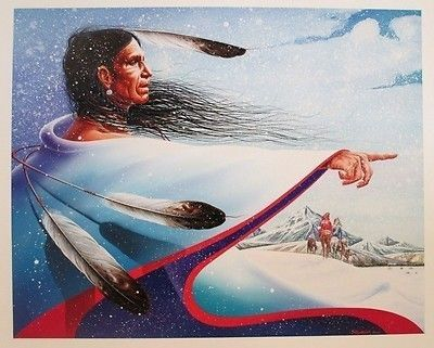 THIERRY CHATELAIN MASTERPIECE AMERICAN SIOUX TRIBE INDIAN CHIEF PAINTING kK