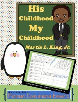 Martin L. King, Jr. ***Print and Go***His Childhood, My ChildhoodCut, Match, Glue the facts of Dr. King's childhood.Now, it's your turn. Answer the questions, independently or at home with family, to include your facts.Compare!You may have more in common with Dr.