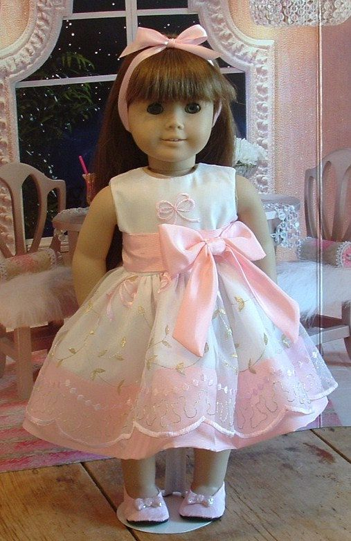 Beautiful organza and taffeta party dress for you American girl doll, or 18 inch doll. This dress is made from a beautiful pink taffeta, with an