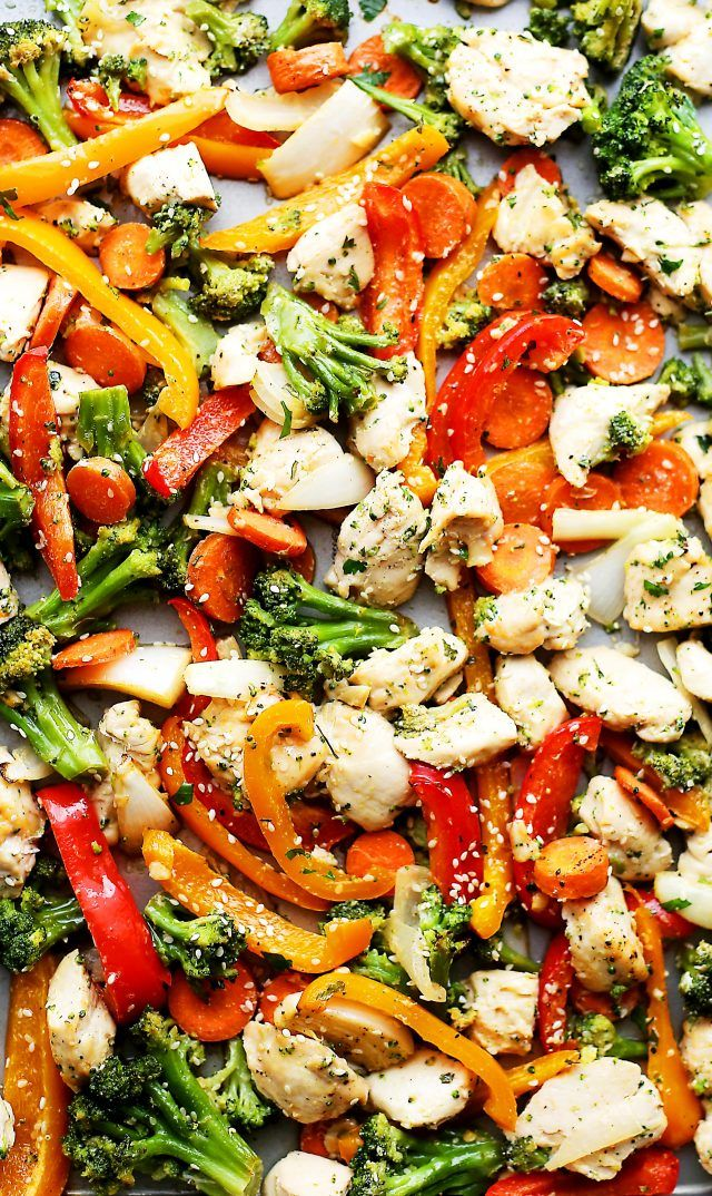 """Sheet Pan Chicken """"Stir Fry"""" - Just one pan and 30 minutes is all you will need to make this amazing meal! Skip the wok and make this quick and healthy chicken stir fry dinner in the oven!"""