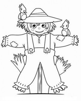 Printable Thanksgiving  Scarecrow Coloring Page -