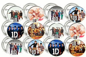 """1 One Direction Boy Band Niall Liam Louis Harry Zane 2"""" Buttons Favors (12 pcs)"""