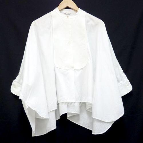 セリーヌ【中古】CELINEノーカラーデザインシャツ ホワイト サイズ:36 【送料無料】 【250714】 batwing...
