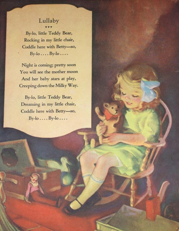 Lullaby Nursery Rhyme -  1930  Illustration.   via Etsy.
