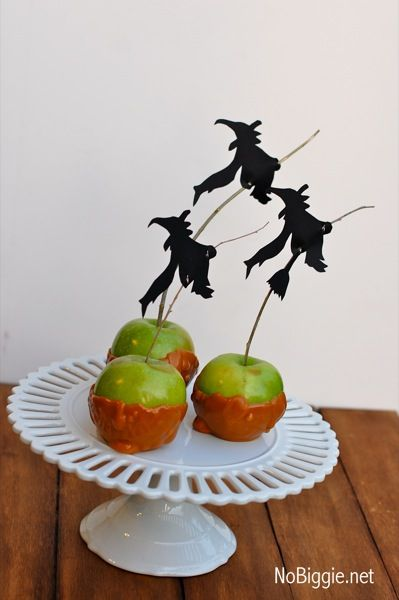 Halloween carmel apples NoBiggie.net...printable silhouette of witches, ravens and bats