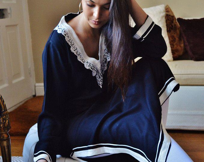 Printemps noir Bohème Caftan caftan-robes d'intérieur, mode, vêtements, pour cadeau de fête des mères, anniversaires ou cadeaux de maternité