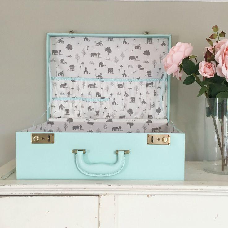 Large Personalised Memory Case in 3 Colours  Beautiful luxury personalised leather memory keepsake box / suitcase for baby memories, wedding memorabilia or other milestones in ones life.