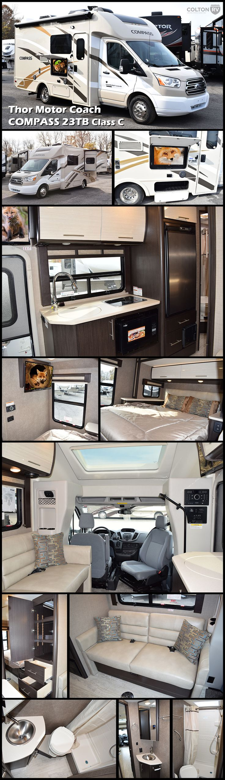 Awaken your wanderlust spirit and travel in comfort in this diesel 2017 Thor Motor Coach COMPASS 23TB RUV Class C motorhome. This Recreational Utility Vehicle features all the amenities needed for a couple plus one or two, including a complete bath, a single slide, and much more!
