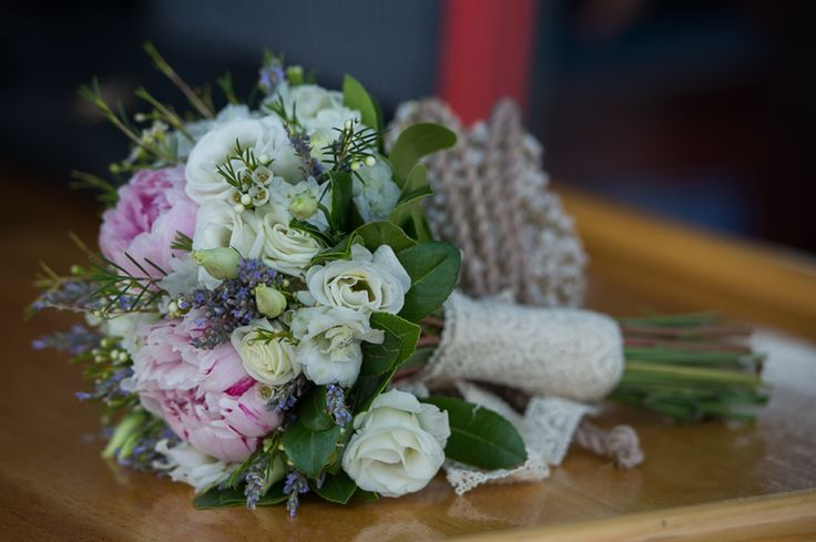 Rustic pink and white bouquet for Sarah by Gourioti Flowers for Lefkas Weddings