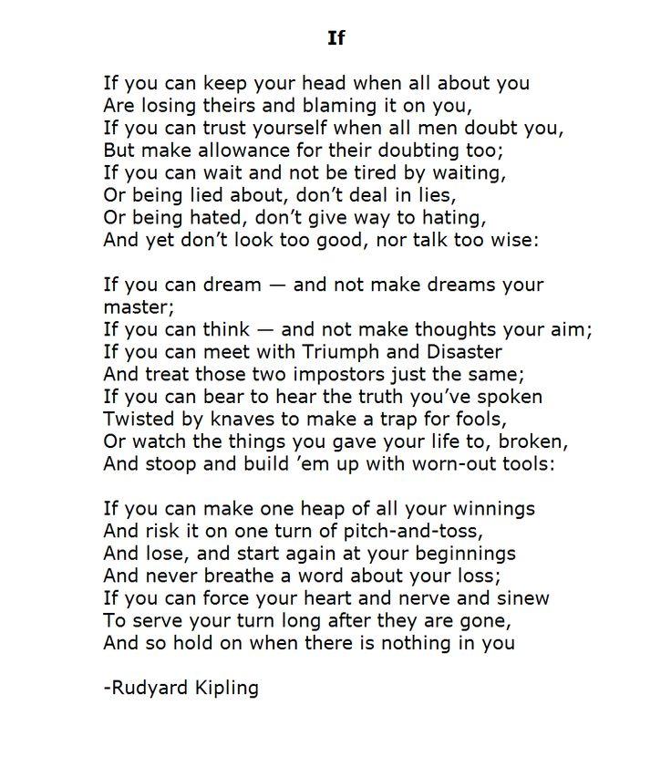 best poems images poems poem and poetry if rudyard kipling