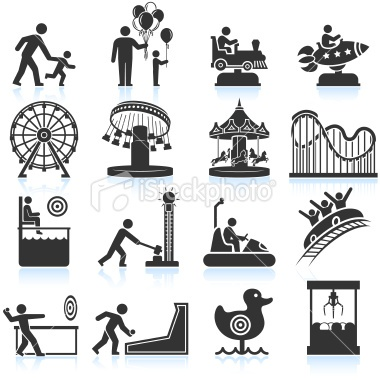 amusement park and Carnival black & white set - Royalty Free Stock Vector Art Illustration