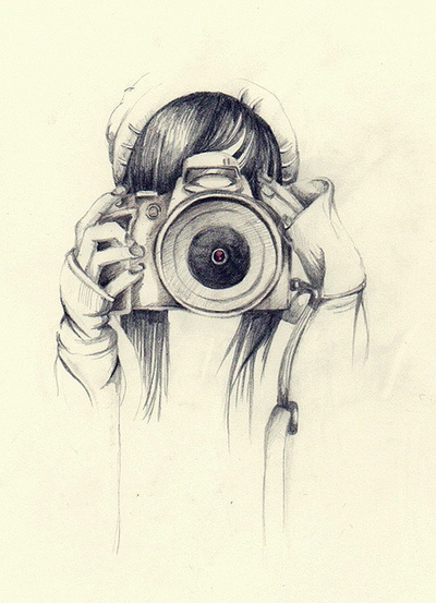 Girl with Beanie and Camera; Line Drawing. #Photographer #Photography #Art