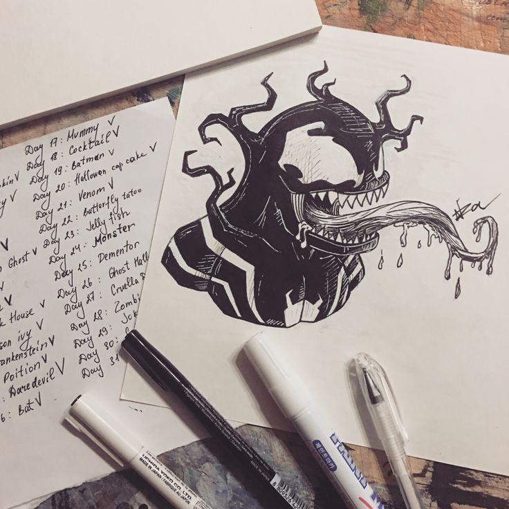 Day - 21 Venom spider man #inktober #inktober2016 #venom  #spiderman #marvelcomics #eddybrock #art #draw #sketch #graphic #doodle #character #nza #nzart #инктобер #инктобер2016 #веном #человекпаук #марвелкомиксы #арт #рисунок #скетч #графика #персонаж #минскарт #беларт #беларусьарт #nick_arty