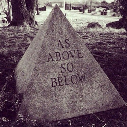 """""""As above, so below."""" These words circulate throughout occult and magical circles. They are recorded in Hermetic texts, although they originated in the Vedas.""""That which is Below corresponds to that which is Above, and that which is Above corresponds to that which is Below, to accomplish the miracle of the One 
