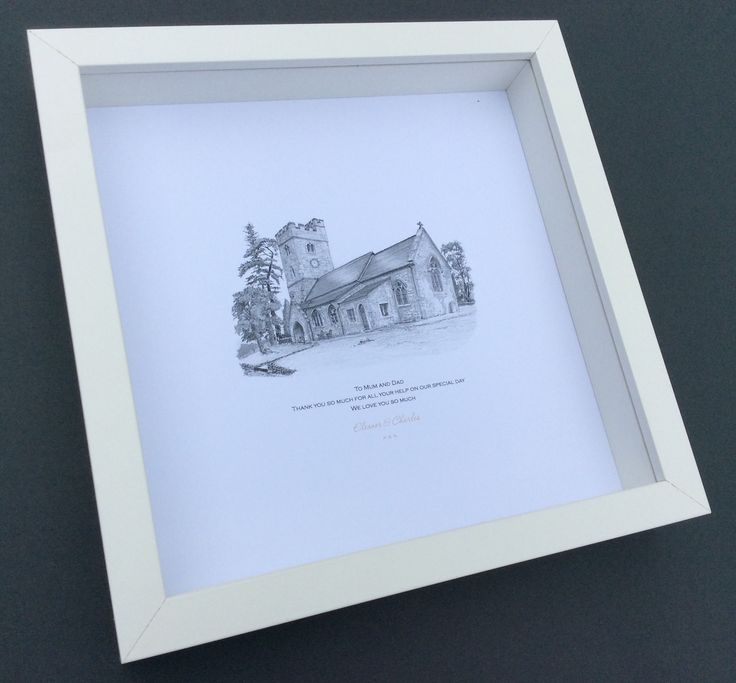 CHURCH of ALL SAINTS, Huntsham, Devon, (UK) This pretty church is situated in the grounds of the historic Huntsham Estate, which is a fantastic venue to hold wedding receptions. Framed sketch make for a personal and unique keepsake or gift to give