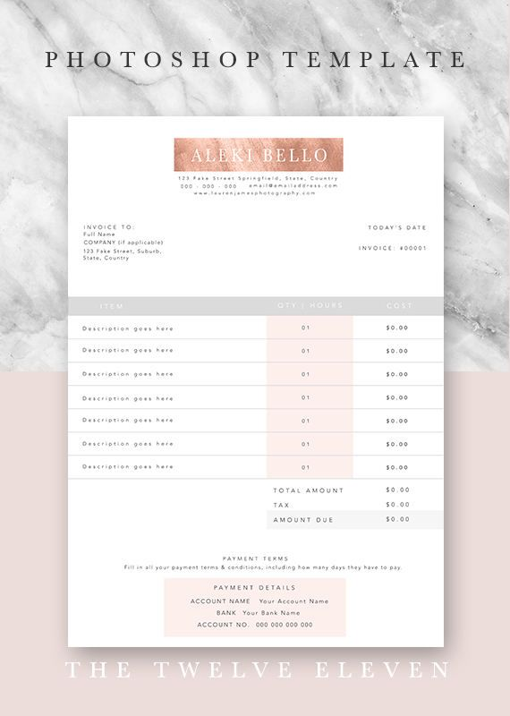Invoice Template Business Forms Stationary Document Template Photoshop Editable Customisable Premade Design Rose Gold Copper Photography Quote Template Invoice Design Photography Marketing Boards