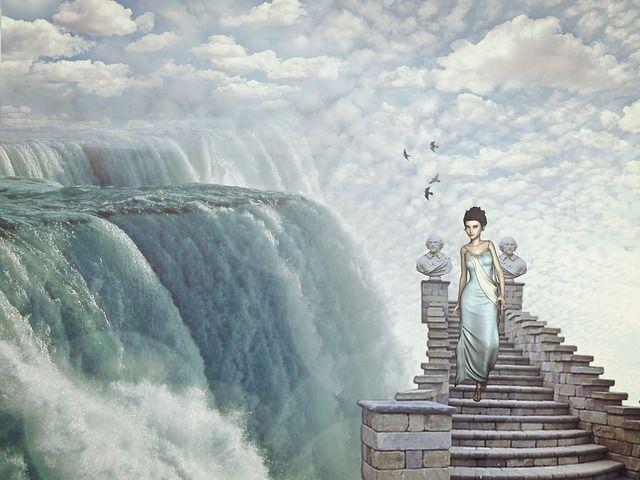 Waterval, Fantasie, Droom Wereld, Meisje, Vrouw, Trap