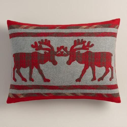 One of my favorite discoveries at WorldMarket.com: Plaid Stag Boiled Wool Lumbar Pillow