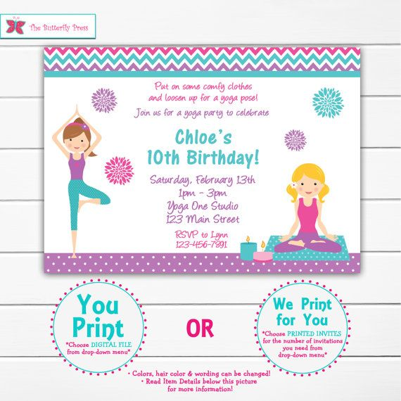 111 best girls birthdays images on pinterest girl birthday yoga birthday party invitation blue and purple yoga invitation yoga party stopboris Image collections