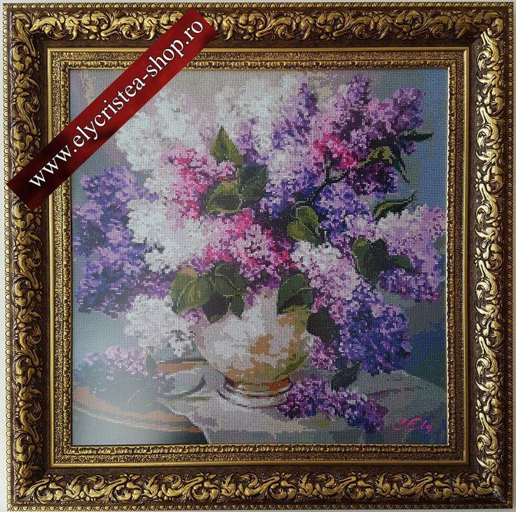 Flori de Liliac - Broderie mosaique - 60x60 cm fara rama ( + Rama, Sticla antireflex ) 2000 Euro   (Diamond Painting )