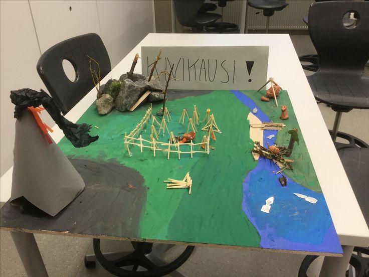 Historian ilmiölähtöinen projekti 5lk. Oppilaat jaetaan neljään ryhmään, jääkausi, kivikausi, rautakausi ja pronssikausi. Oppilaat valmistavat ryhmissä esim lastulevylle aikakauden kylän erilaisista materiaaleista.
