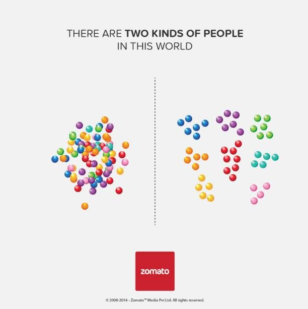 two kinds of people in the world-ad by Zomato - logic & creativity