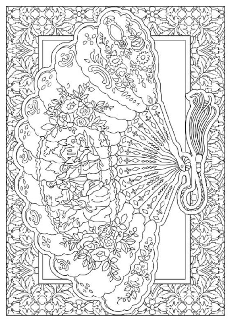 creative haven vintage hand fans coloring book dover publications i like this classic fan coloring for adults
