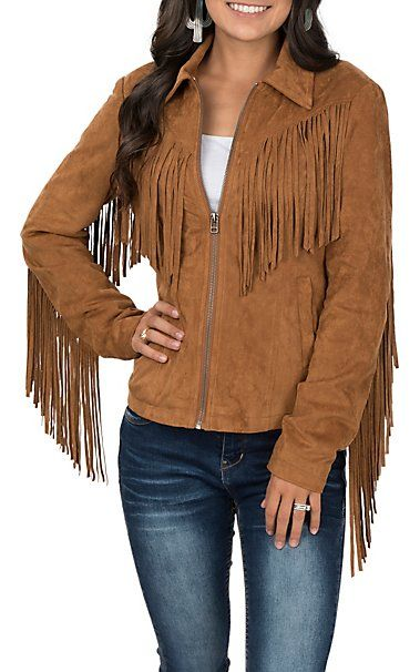 0723cdb42 Fornia Camel Faux Suede Fringe jacket   Rodeo in 2019