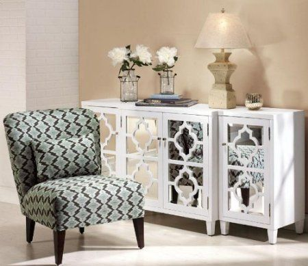 Amazon.com: Reflections Mirrored Three piece Cabinet Set, 3 PIECE SET, WHITE: Home & Kitchen