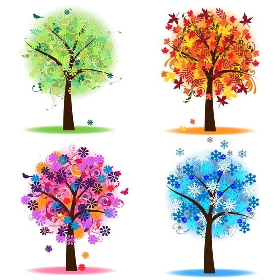 Four Seasons Trees Clipart Clip Art, Spring Summer Winter Fall Autumn Clip Art Clipart - Commercial and Personal. $6.00, via Etsy.