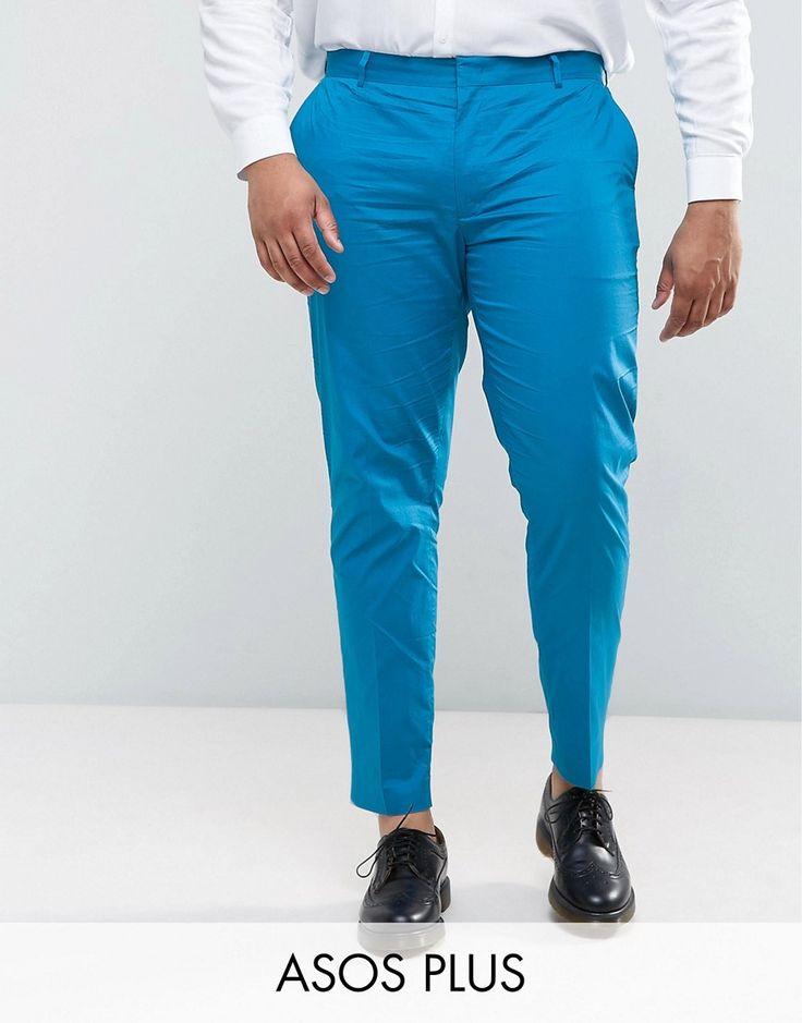 ASOS PLUS Wedding Skinny Suit Pant in Ocean Blue Stretch Cotton - Blue