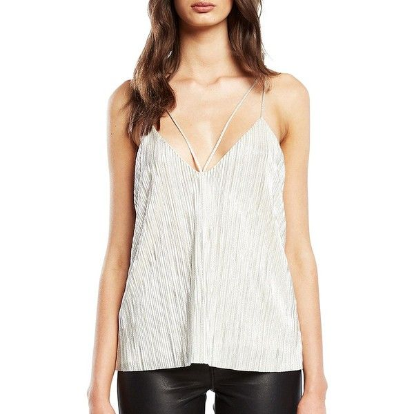 Bardot Layla Deep V-Neck Tank Top (£56) ❤ liked on Polyvore featuring tops, silver, white tank, white top, deep v neck tank, spaghetti-strap tops and bardot top