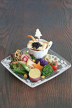 温野菜のまろやかとろ~り卵ソース & カリカリ!鶏ささみせんべい