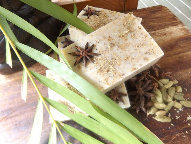 Almond, Cardamom & Star Anise Natural Soap. A natural soap made with Almond Milk, crushed cardamom and star anise spices.